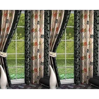 K Decor Beige,Black Polyester Door Eyelet Stitch Curtain Feet (Combo Of 4)