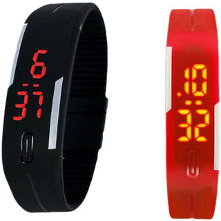 Digital LED Band Watch for Kids Combo (Red + Black) By BrandKing