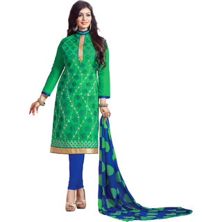 Khushali Presents Embroidered Chanderi Dress Material(Green,Blue)