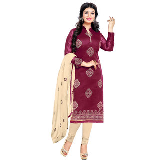 Khushali Presents Embroidered Bhagalpuri Dress Material(Magenta,Cream)