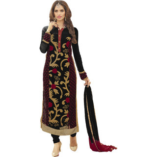 Khushali Presents Embroidered Georgette Dress Material(Black,Multi)