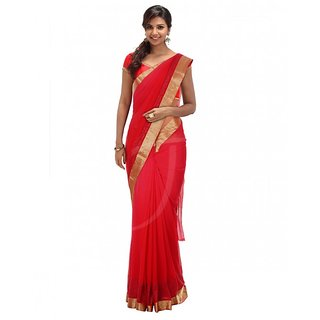 Georgette Saree With Red Colour
