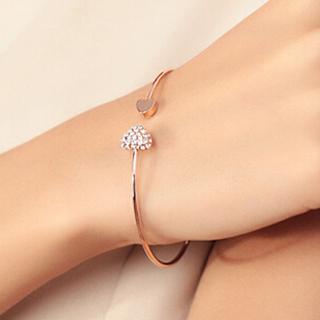 Lovely Gold Plated Rhinestone Heart Shape Cuff Bracelet