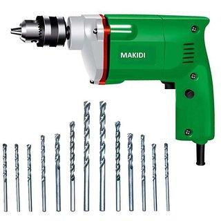 Powerful Electric Drill Machine 13mm + 13 pcs HSS Bit Set