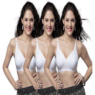 1e5b588f28e7d Buy SKIVA WHITE COTTON HOSIERY BRA PACK OF 3 Online - Get 87% Off