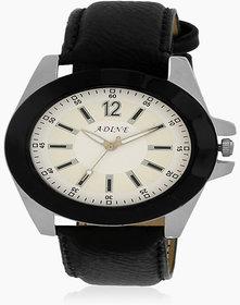 Adine White Dial Analog Watch (AD-6013BLACK-WHITE)