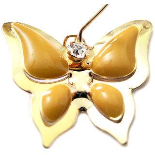 Chamakdamak Golden butterfly earrings with brown wings