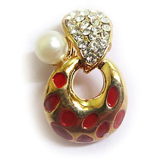 Chamakdamak Golden earrings with red spots