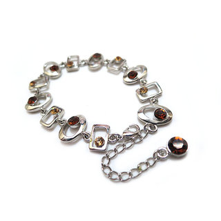 Chamakdamak Silver Bracelet With Brown Gems