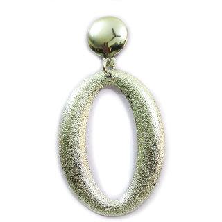 Chamakdamak Silver glitter ovals earrings