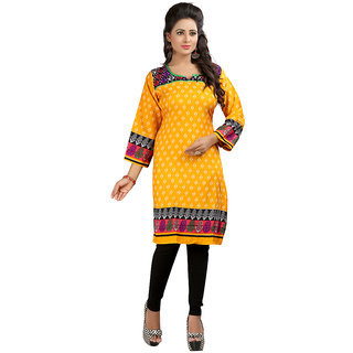 The BrandStand Womens Kurti (KRT6075-Ylw)