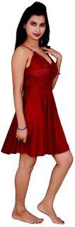 Kismat Fashion Maroon Satin Babydoll Dresses An01