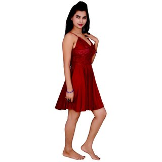 Kismat Fashion Maroon Satin Babydoll Dresses An01