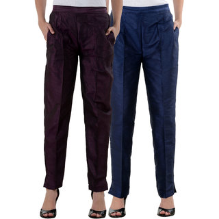 NumBrave Purple,NavyBlue Raw Silk Pants (Combo of 2)