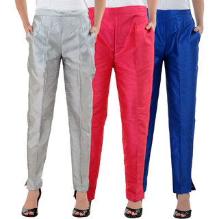 NumBrave Silver,Pink,RoyalBlue Raw Silk Pants (Combo of 3)