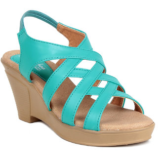 MSC Turquoise Casual Synthetic Leather Womens Footwears