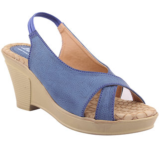 MSC Blue Casual Synthetic Leather Womens Footwears