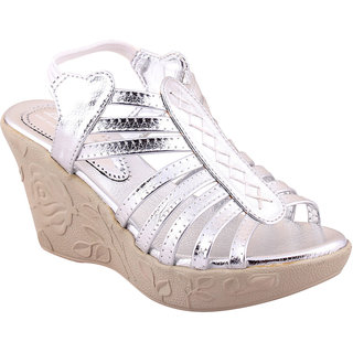 MSC Silver Casual Synthetic Leather Womens Footwears