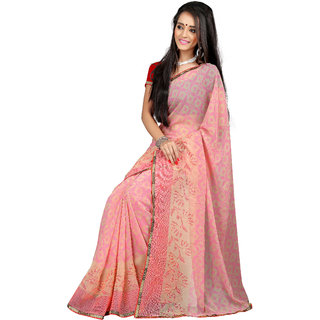 Khushali Presents Chiffon Saree(Light Pink,Peach)
