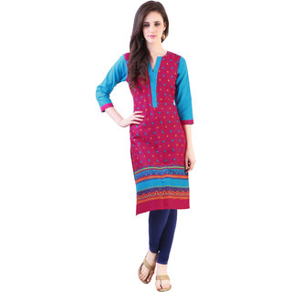 Libas Pink Cotton Printed Kurta For Women