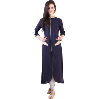 Libas Blue Rayon Solid/Plain Kurta For Women