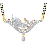 Meenaz Mangalsutra Gold Plated Cz In American Diamond For Girls  Women MS858