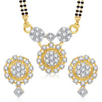 Meenaz Mangalsutra Jewellery Set Silver  Gold Plated Cz With Earring In American Diamond MSPT179