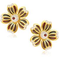 Meenaz Traditional Earrings Fancy Party Wear Kundan Moti Pearl Daimond Earrings - TR107