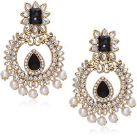 Meenaz Traditional Earrings Fancy Party Wear Kundan Moti Pearl Daimond Earrings - TR117
