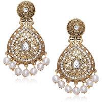Meenaz Traditional Earrings Fancy Party Wear Kundan Moti Pearl Daimond Earrings - TR120