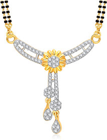 Meenaz Mangalsutra Gold Plated Cz In American Diamond For Girls  Women MS869