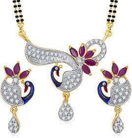 Meenaz Mangalsutra Jewellery Set Silver  Gold Plated Cz With Earring In American Diamond MSPT183