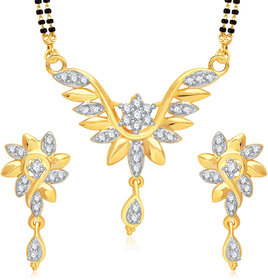 Meenaz Mangalsutra Jewellery Set Silver  Gold Plated Cz With Earring In American Diamond MSPT189