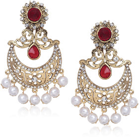 Meenaz Traditional Earrings Fancy Party Wear Kundan Moti Pearl Daimond Earrings - TR129
