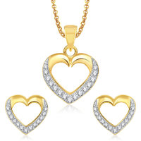 Meenaz Pendants Set Jewellery With Chain In American Diamond Gold Plated Cz Pendant  Locket Sets For Gifts Pt155