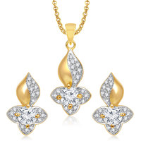 Meenaz Pendants Set Jewellery With Chain In American Diamond Gold Plated Cz Pendant  Locket Sets For Gifts Pt157