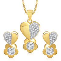 Meenaz Pendants Set Jewellery With Chain In American Diamond Gold Plated Cz Pendant  Locket Sets For Gifts Pt158