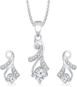 Meenaz Pendants Set Jewellery With Chain In American Diamond White Plated Cz Pendant  Locket Sets For Gifts Pt147