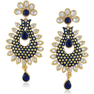 Meenaz Traditional Earrings Fancy Party Wear Kundan Moti Pearl Daimond Earrings - TR177