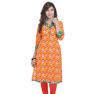 Rangeelo Rajasthan Womens Printed Straight Cotton kurti-RAR9028ORANGE