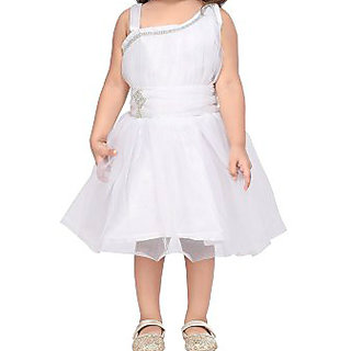 White color trendy frock for baby girls