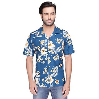 SBA Blue Color Printed Casual Shirt