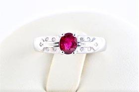 Burmese Ruby Diamond Ring By Suranas Jewelove (Design 5)