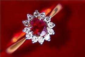Burmese Ruby Diamond Ring By Suranas Jewelove (Design 3)
