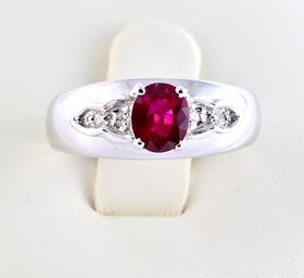 Burmese Ruby Diamond Ring By Suranas Jewelove (Design 6)
