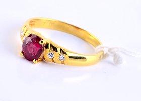 Burmese Ruby Diamond Ring By Suranas Jewelove (Design 1)