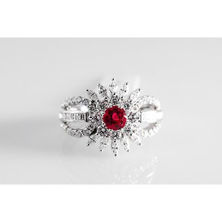 Fine Ruby Ring With Diamonds By Suranas Jewelove