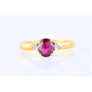 Burmese Ruby Diamond Ring By Suranas Jewelove (Design 2)