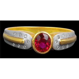 Pink Flash Burmese Ruby Ring By Suranas Jewelove
