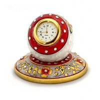 White Marble Red Painted Table Clock Home Decorative And Gift Item 4 Inch